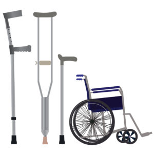 Crutches, wheelchair and walking sticks icon. Vector illustration.